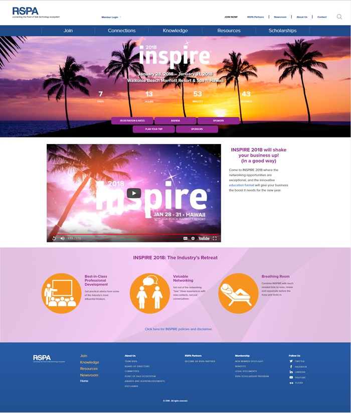 Inspire 2018 homepage